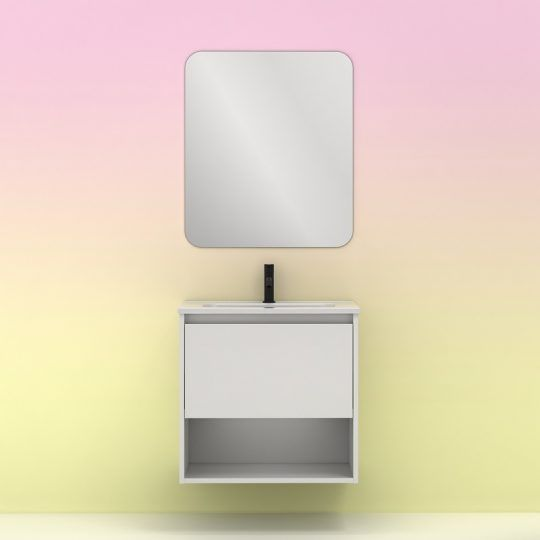 Conjunto 60cm NIWA 1C1H BCO/BRILLO Mueble+Lavabo+Espejo